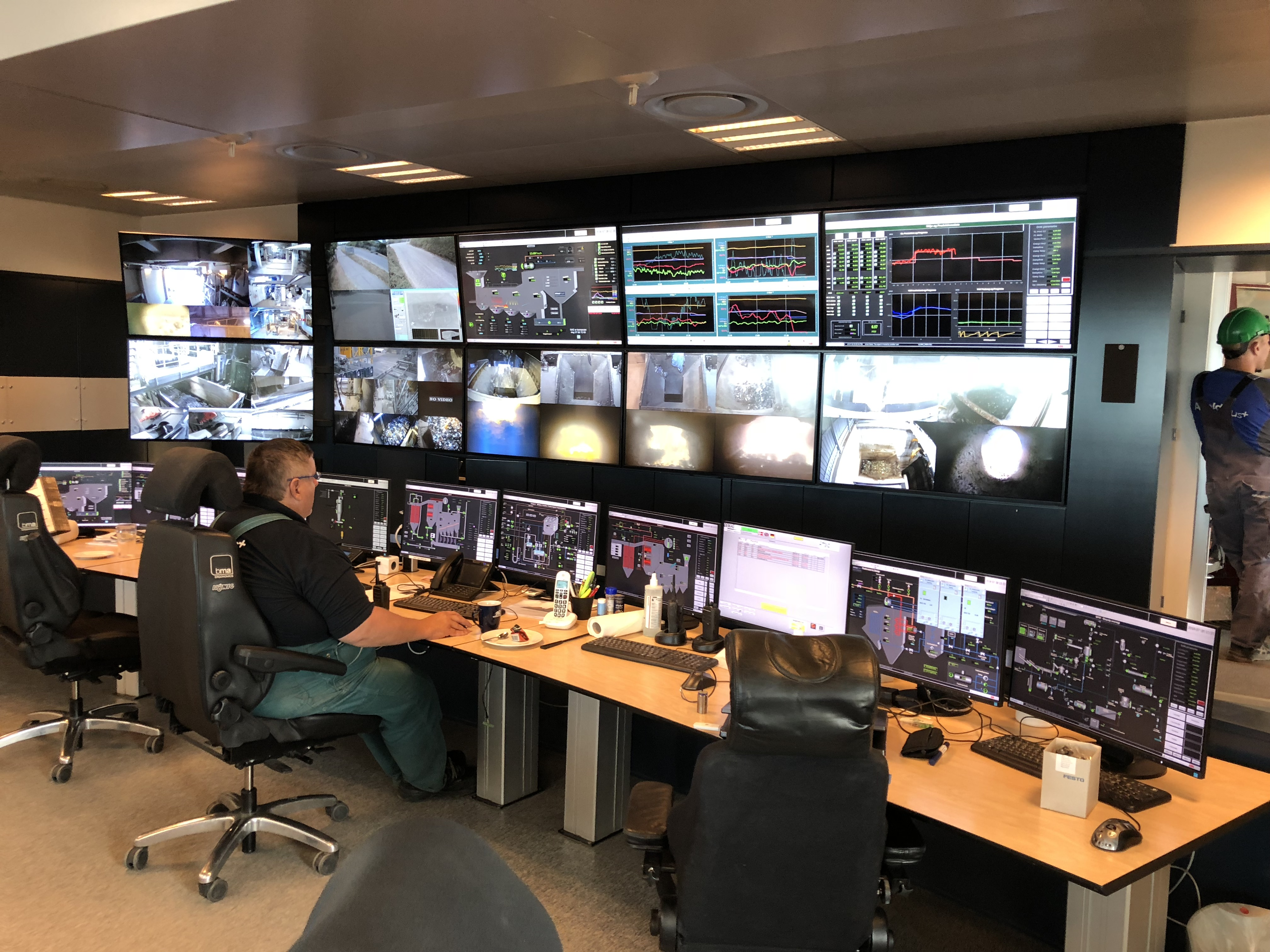 Monitoring room with screens